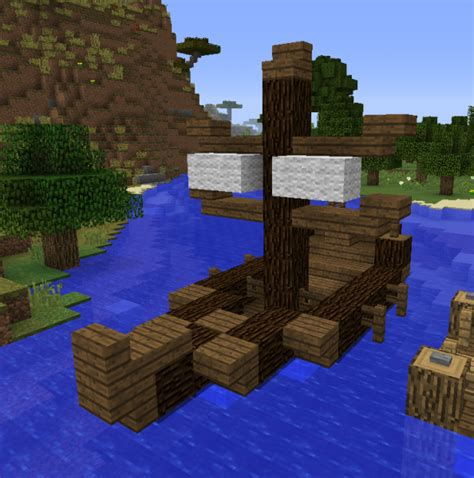 how to make a double boat in minecraft simple medieval sailboat grabcraft your number one