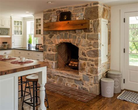 French Country Ranch House 25 fabulous kitchens showcasing warm and cozy fireplaces