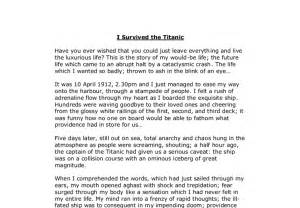 Basic Essay Exles by Story I Survived The Titanic Gcse Marked By Teachers