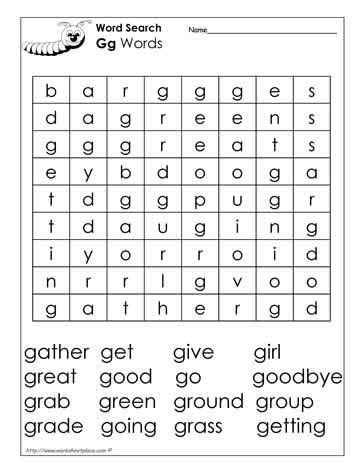 G Search Letter G Word Search In The Classroom
