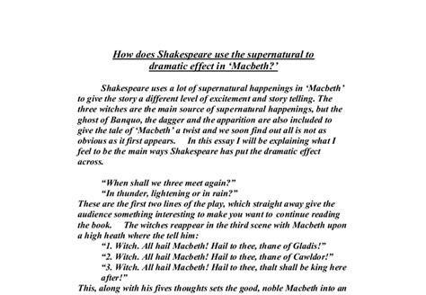 the supernatural in shakespeare english literature how does shakespeare use the supernatural to dramatic