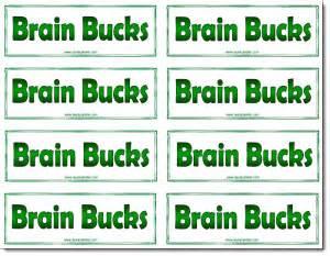 Classroom Bucks Template by Classroom Freebies Brain Bucks Freebie