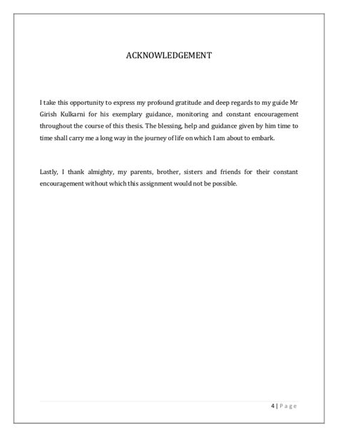 acknowledgement thesis brother field work project report a study of brand development of