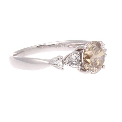 Colored Engagement Rings by Light Chagne Colored Platinum Engagement Ring