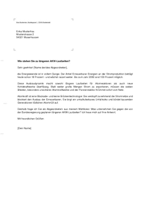 Musterbriefe Vorlage Brief Vorlage Musterbrief Vorlage Wie Stehen Sie Zu L 228 Ngeren Akw Laufzeiten Via Rapidletter De