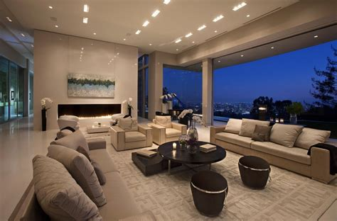 Big Modern Living Room by Large Modern Home With Lovely City Views Bel Air Los