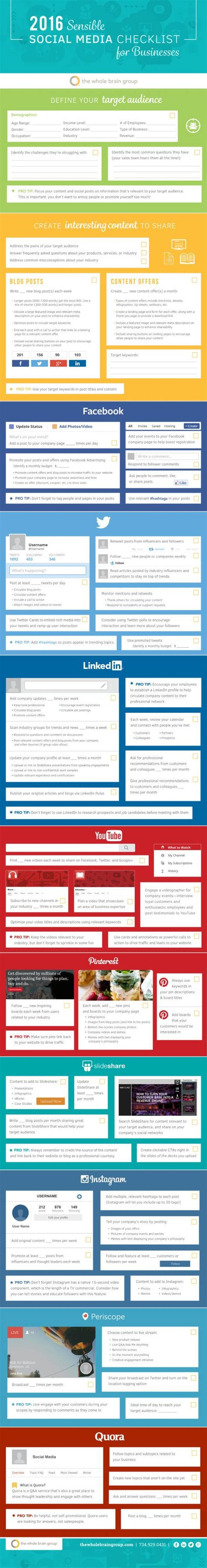 2016 social media marketing infographic infografik the 2016 sensible social media checklist for