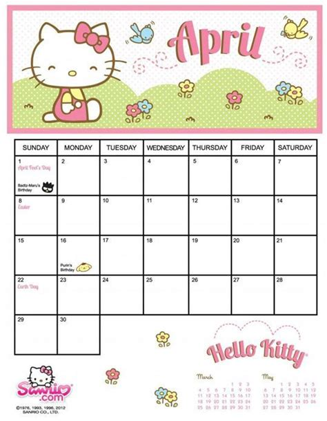 printable calendar 2015 hello kitty april 2015 calendar printable hello kitty