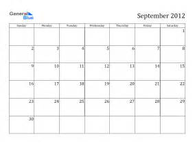 Free In Calendar Calendar 2012 Free Printable Calendar September 2012
