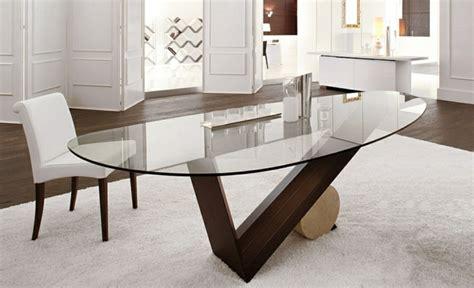 Merveilleux Table De Cuisine Ronde En Verre Pied Central #6: Table-manger-Valentino-plateau-ovale-verre-base-bois.jpg