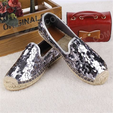 seed shoes fashionable seed paillette hemp rope flats shoes silver