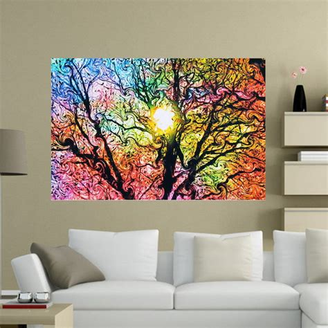Psychedelic Home Decor 33 215 50cm 1pc Tree Sun Patterns Psychedelic Trippy Nature Silk Poster Home Decor Alex Nld