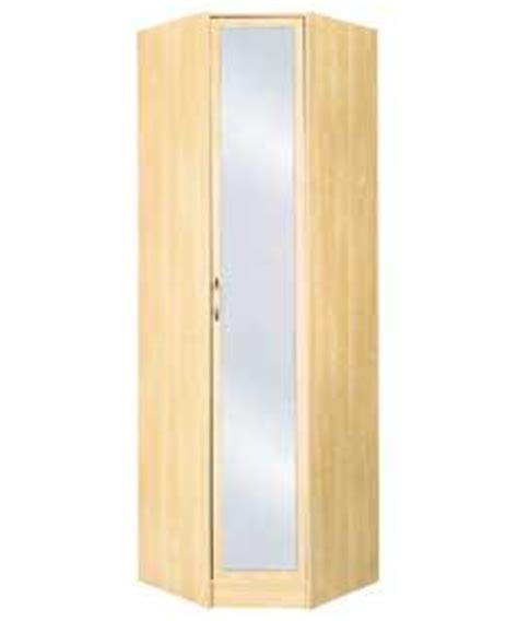 reflections mirrored 1 door corner wardrobe maple