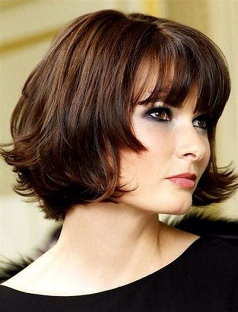 short bob hairstyle for thick hair and round face short bob hairstyles with bangs for round faces and thick