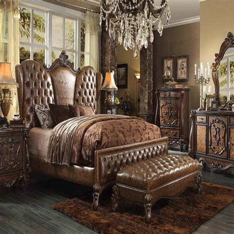 bedroom set versailles two tone light brown antique