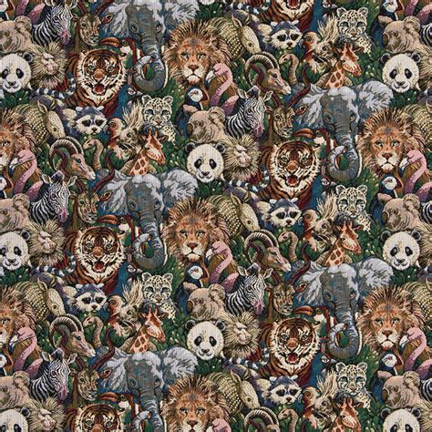various zoo animal themed tapestry upholstery fabric by