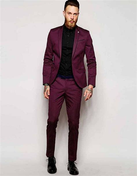17 best images about maroon suit on pinterest shops custom made one button burgundy groom tuxedos notch lapel