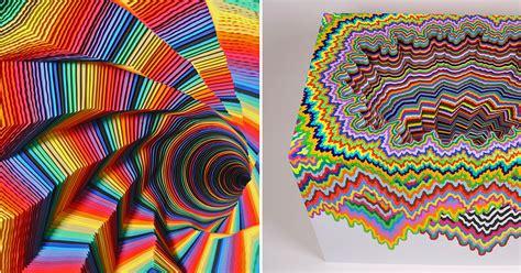spiraling rainbow vortexes created  layered paper