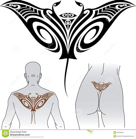 maori manta tattoo design stock images image 29918304