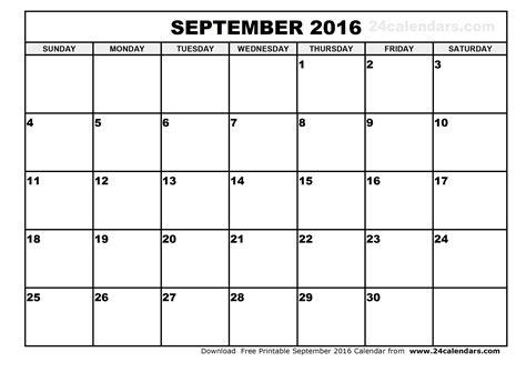Printable Calendar 2016 September | september 2016 calendar printable