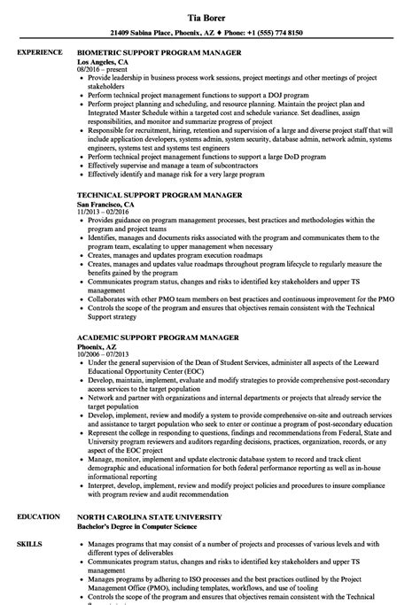 support program manager resume sles velvet
