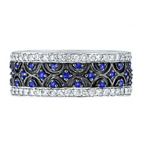 blue sapphire  diamond eternity band  white gold