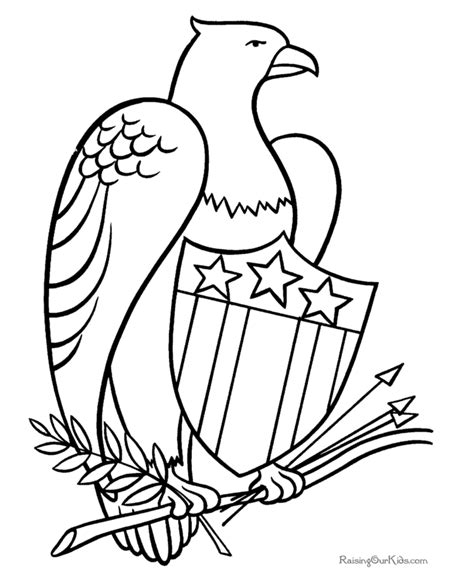 coloring pages bald eagle and us flag patriotic eagle coloring pages 011