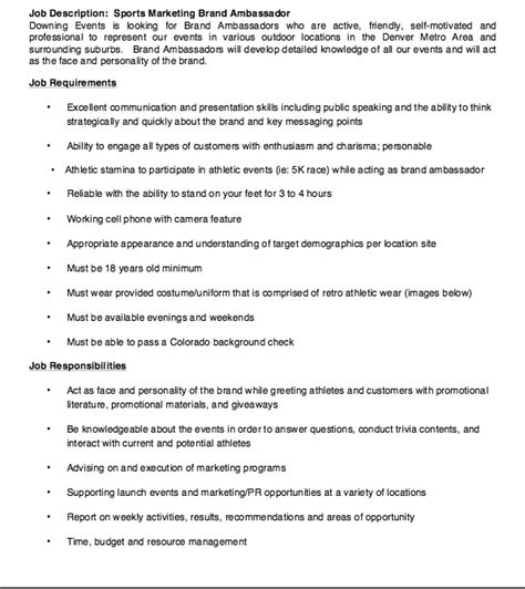 sports marketing resume exles sports marketing brand ambassador description resume