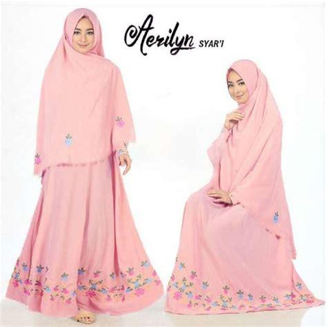 Gamis Big Flower gamis polos aerlyn syar i crepe bordir baju muslim cantik