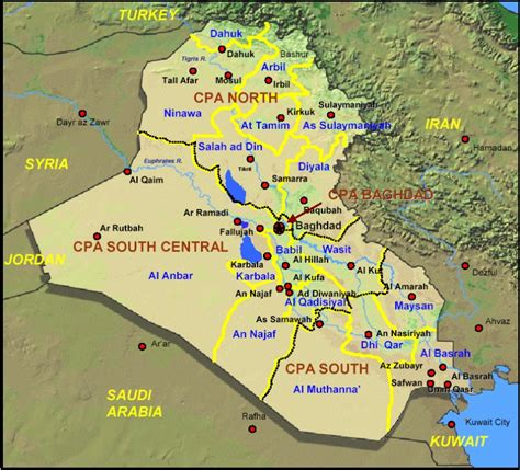 map for iraq iraq administrative maps