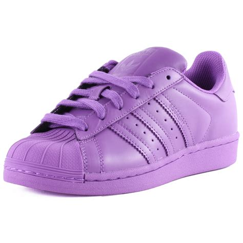 adidas superstar supercolour womens leather purple trainers  shoes  sizes ebay