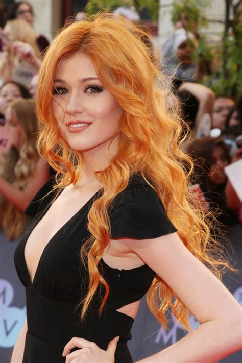 actress with long red hair katherine mcnamara wavy ginger barrel curls hairstyle