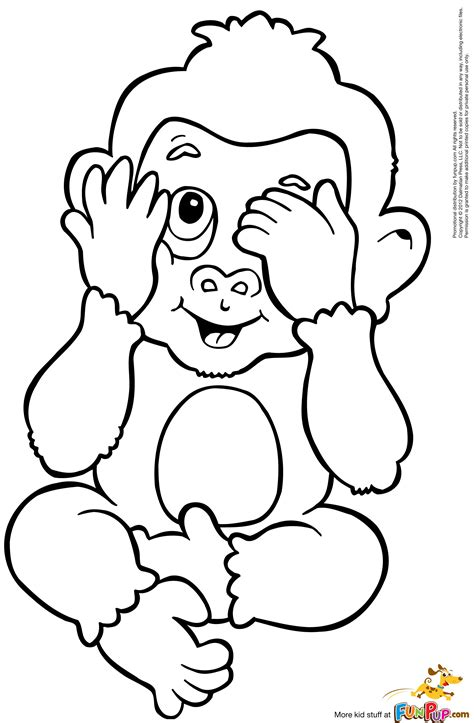 coloring pages of baby monkeys baby monkey coloring pages to download and print for free