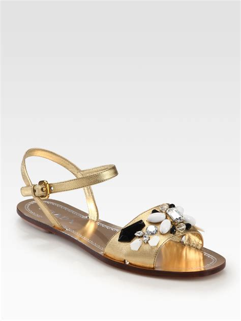 gold leather sandals prada jeweled saffiano metallic leather sandals in gold