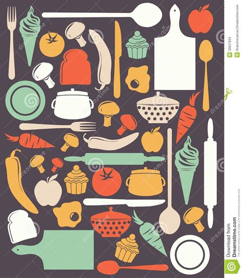 cute kitchen pattern cute kitchen pattern stock images image 30637834