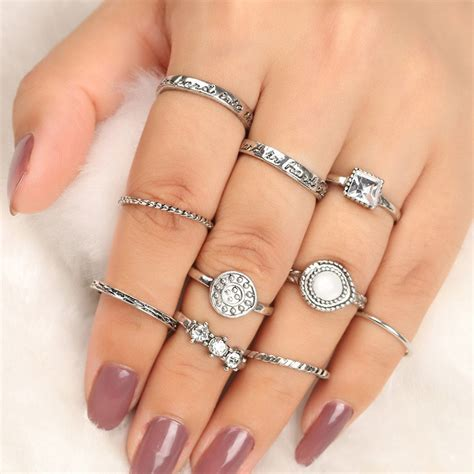 Finger Set silver rhinestone geometric antique finger ring set