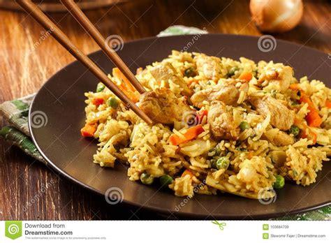 fried rice nasi goreng  chicken  vegetables