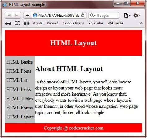html layout exles div html layouts