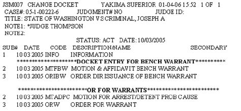 what happens if a bench warrant is issued how to docket warrants