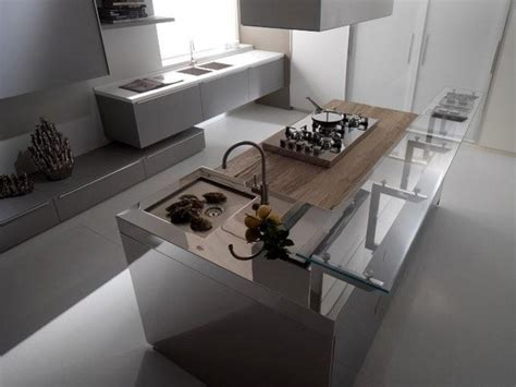 Grey and white glass with stainless steel kitchen   Modern