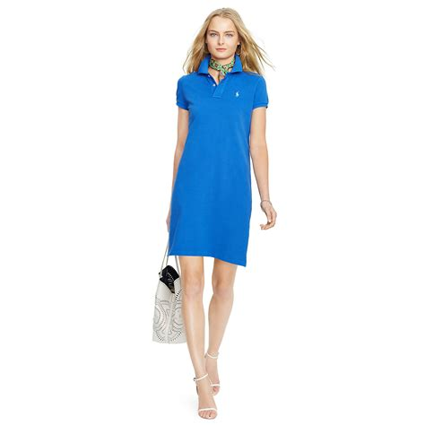 Rl Dress Glowing Blue polo ralph cotton mesh polo dress in blue lyst