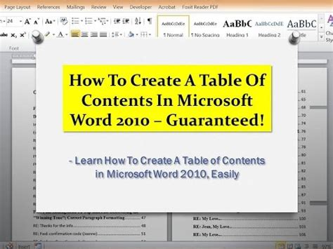 Microsoft Word Insert Table Of Contents by Word 2010 Tutorial How To Create A Table Of Contents In