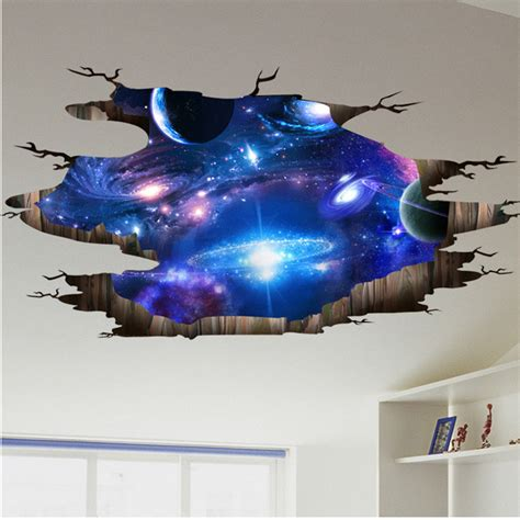 3d Space Sticker 3d outer space wall stickers home decor mural