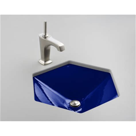 hexagon bathroom sink shop kohler votive iron cobalt cast iron undermount