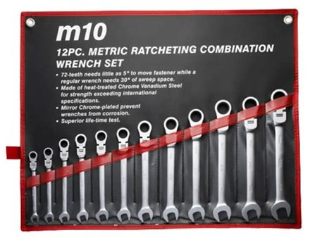 M10 Gear Ratchet Flex Combination Wrench Metric 005 057 18 m10 gear ratchet flex combination wrench set 12fr 8mm to