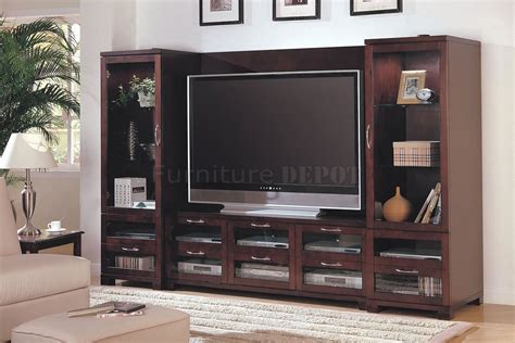 Wall Unit Ideas | cappuccino finish modern entertainment wall unit wglass