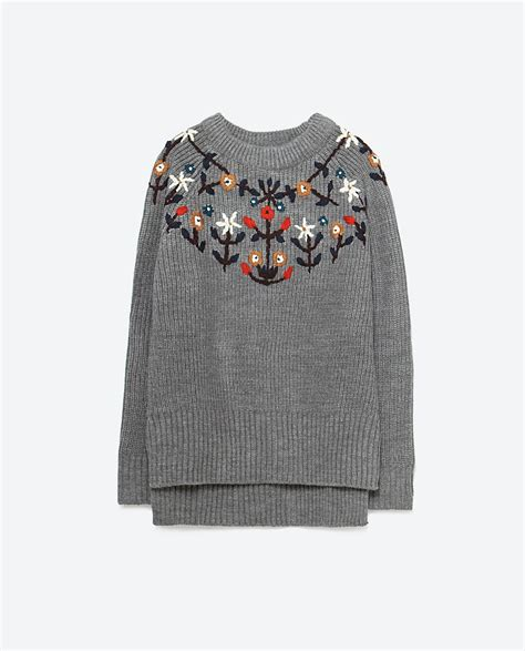 embroidery sweater zara embroidered sweater in gray lyst