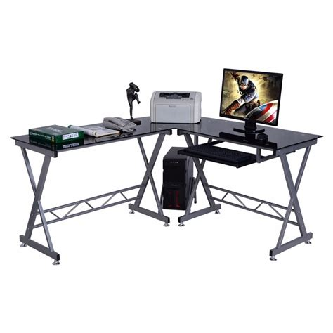 School Desk Laptop Table Goplus L Shape Computer Desk Pc Glass Top Laptop Table School Student Learning Desk Workstation