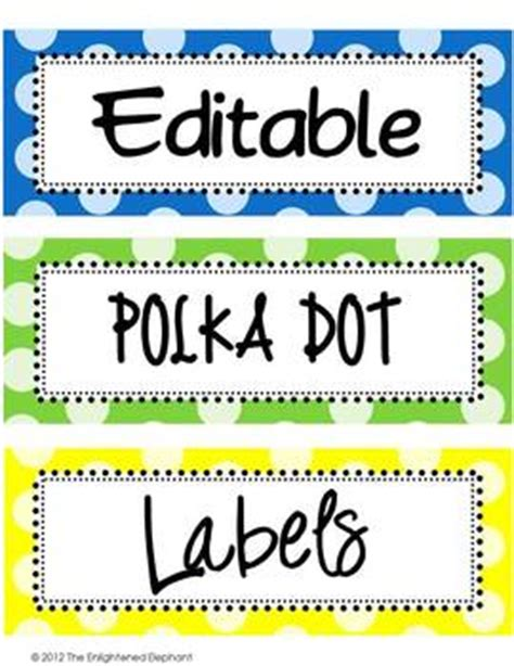 editable polka dot labels clip art images   enlightened elephant