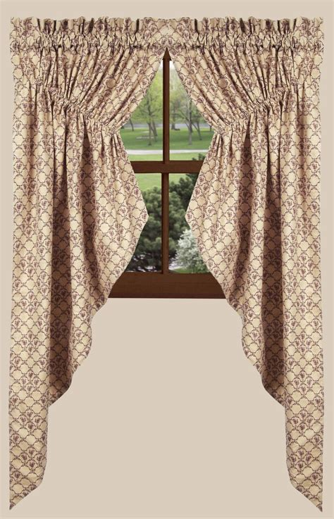 gathered swag curtains chanticleer gathered swag curtains in barn red